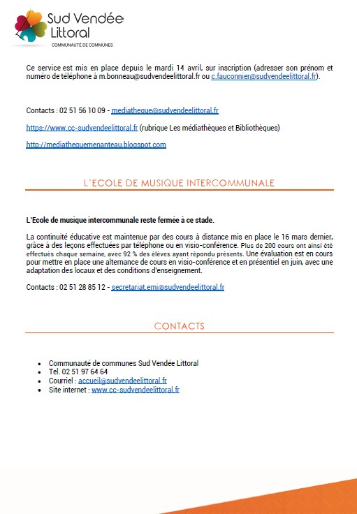 LES MESURES DE DECONFINEMENT - SUD VENDEE LITTORAL  - Communiqué du 11/05/2020