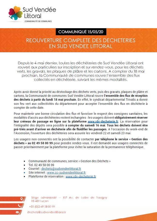 Réouverture complète des déchetteries en Sud Vendée Littoral