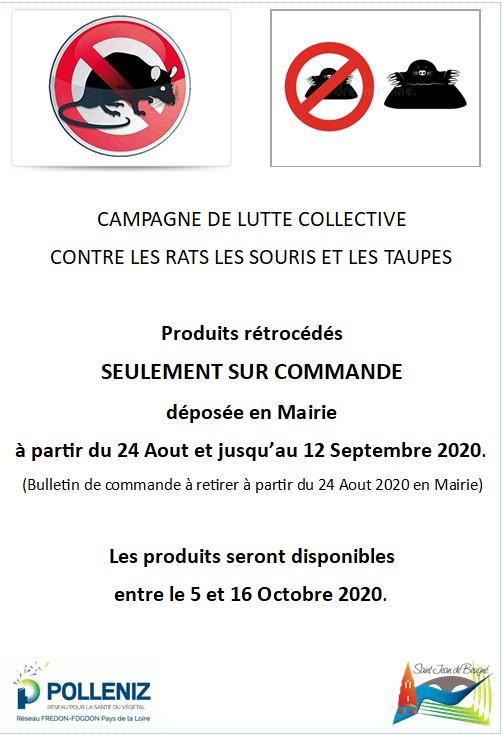 CAMPAGNE DE LUTTE COLLECTIVE CONTRE LES RATS LES SOURIS LES TAUPES
