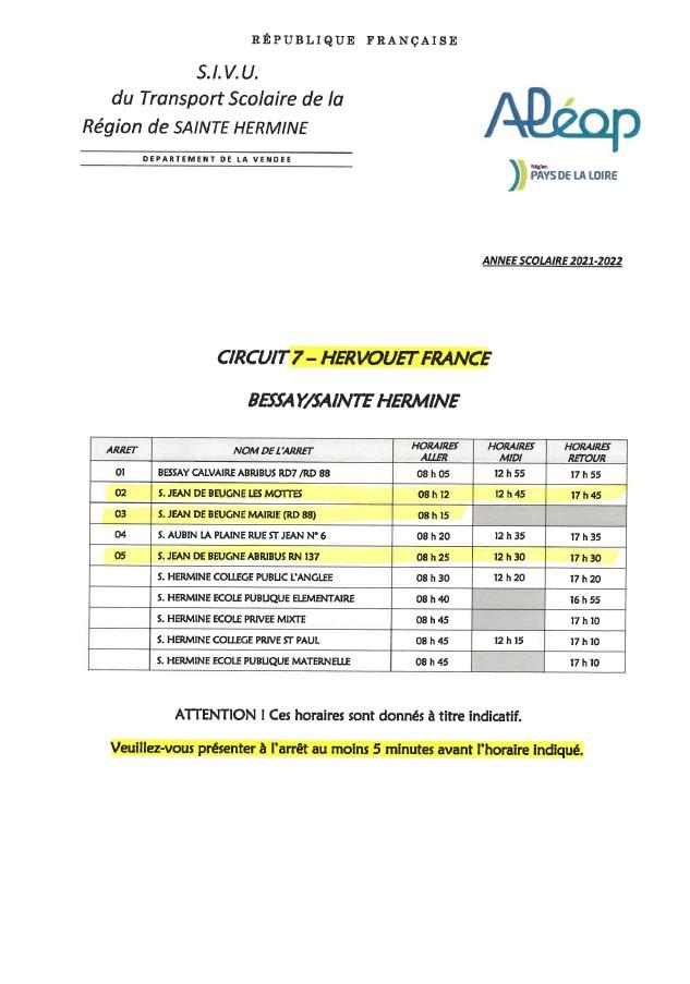 HORAIRES TRANSPORT SCOLAIRE 2021-2022