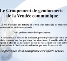 Information du Groupement de Gendarmerie de la Vendée